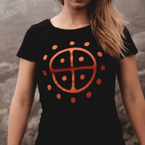 Load image into Gallery viewer, viking sunwheel tshirt by sacred knot tattoo