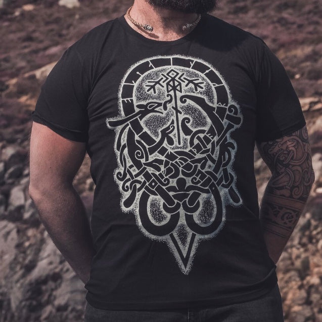 urnes style dragon t shirt by viking artist sacred knot