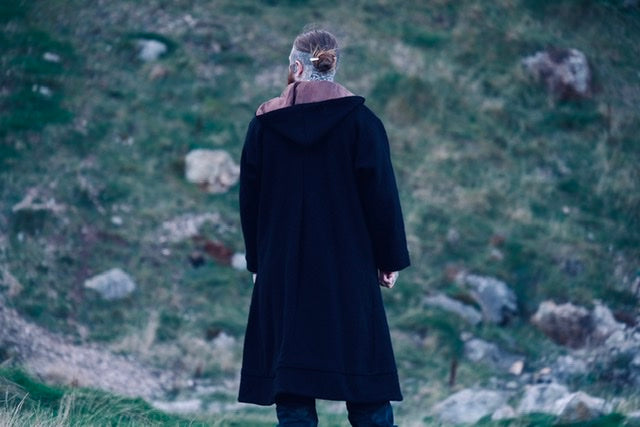 Hand sewn full length Nordic style long coats made by Sacred Knot Tattoo's mum. Unisex coats