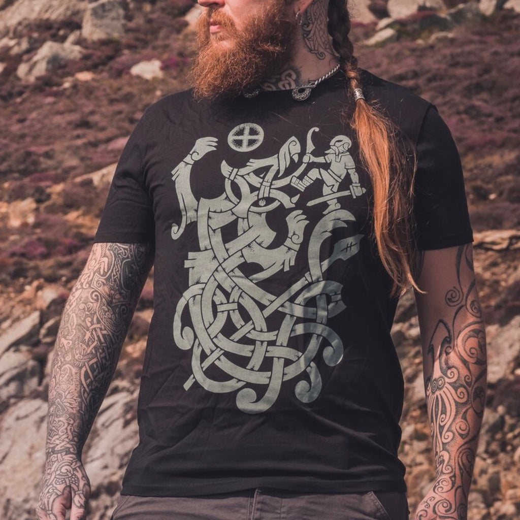 vidar son of viking god odin fighting fenrir at ragnarok on a t shirt. Norse pantheon