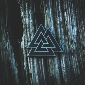 Viking Valknut symbol enamel pin made by Sean Parry of Sacred Knot Tattoo for Northern Fire