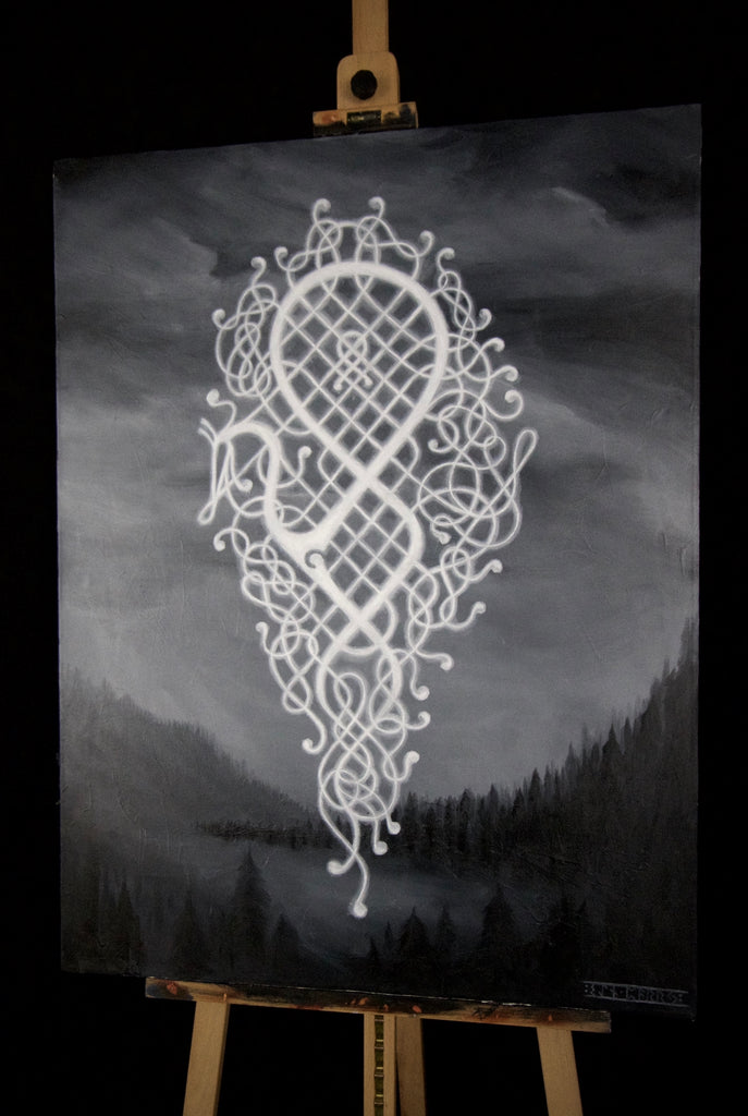 Original canvas painting by Sean parry of sacred knot tattoo, Odin viking god rune over welsh landscape