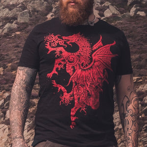 Load image into Gallery viewer, Welsh dragon t shirt by sacred knot, celtic art, cymru