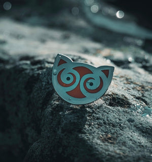 Snowdon Cat enamal pin designed by Sacred Knot Tattoo. Inspired by an artefact found in Snowdonia national park in Wales (Cymru)