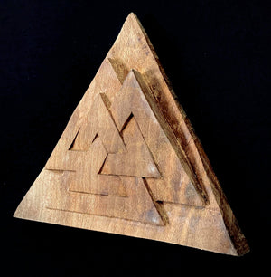Load image into Gallery viewer, hand carved wooden viking valknut symbol