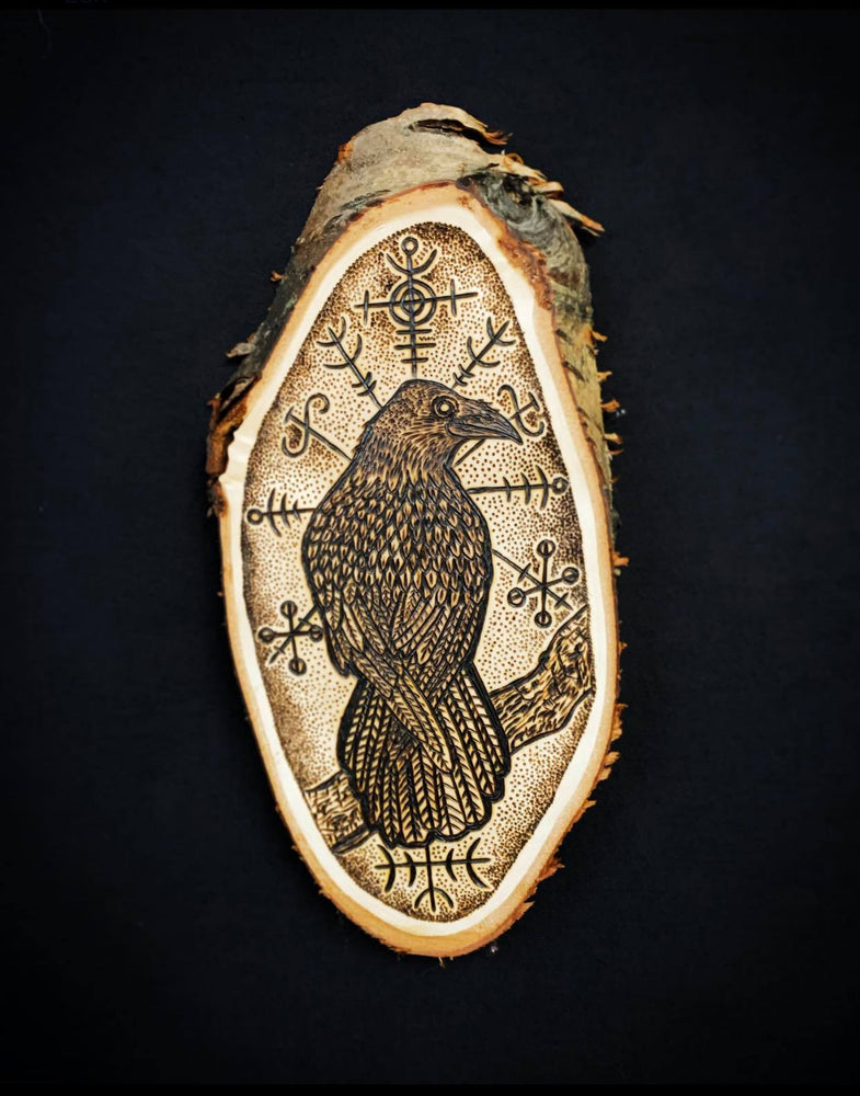 Icelandic raven pyrography design hugin and munin