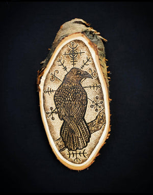 Load image into Gallery viewer, Icelandic raven pyrography design hugin and munin