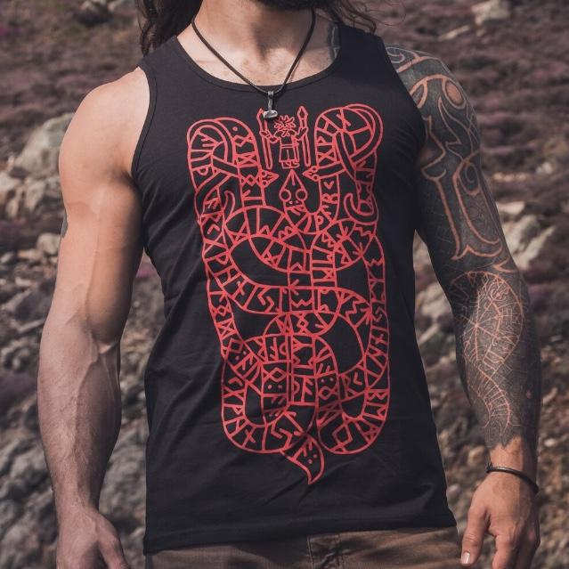 Elder Futhark Rune vest designed by Sacred Knot Tattoo, Snake and viking runes tank top