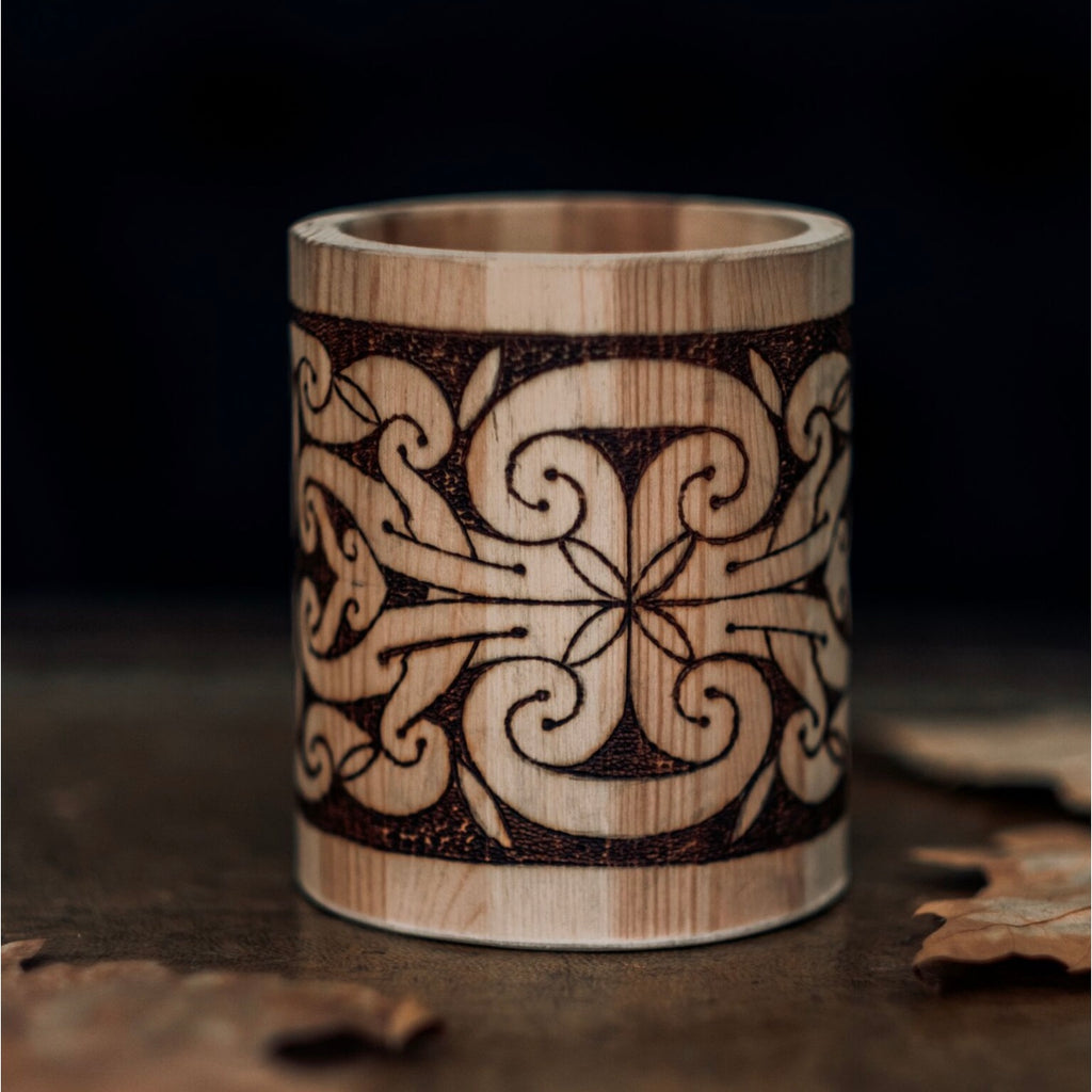 Villkat Arts, pyrography, Celtic art, Northern Fire, celtic artist, la tene, pen pot, wooden art