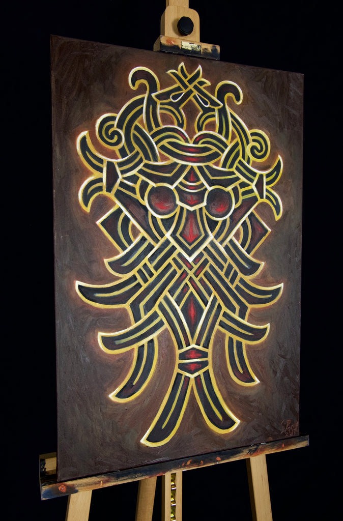Original canvas painting by Sean parry of sacred knot tattoo, odin godmask, viking gods, norse mythology