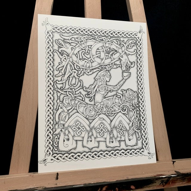 viking god loki being punished with snake poison. Nordic knotwork and dotwork art print by dyrs hjarta
