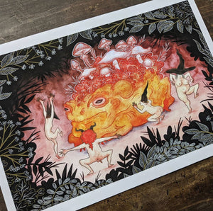 Image of an art print of Annemieke's image - with four little creatures dancing around (and licking) a mushroom covered toad in a whimsical folklore setting.