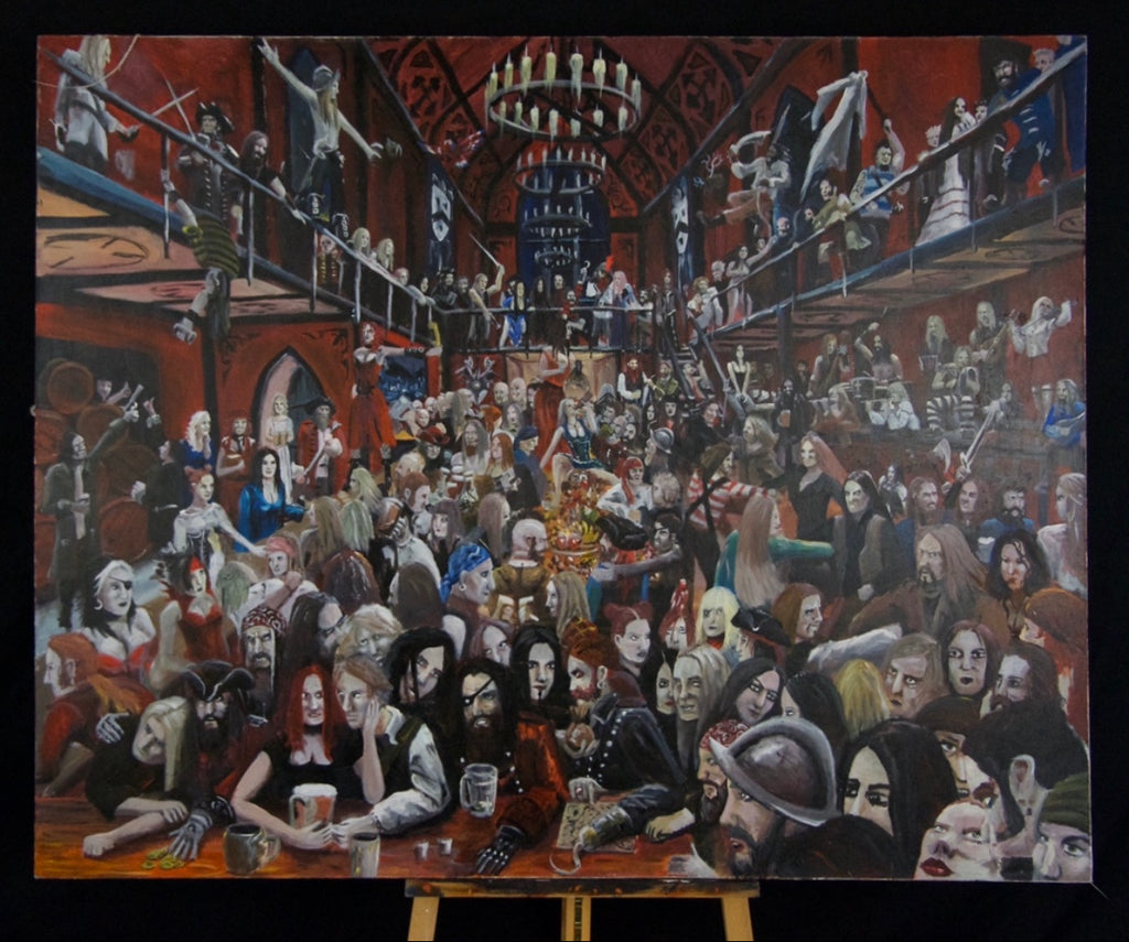 Original canvas painting by Sean parry of sacred knot tattoo, Bar scene