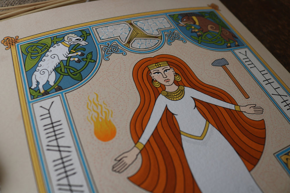 Celtic Art print of the goddess brigid by badger king tattoo