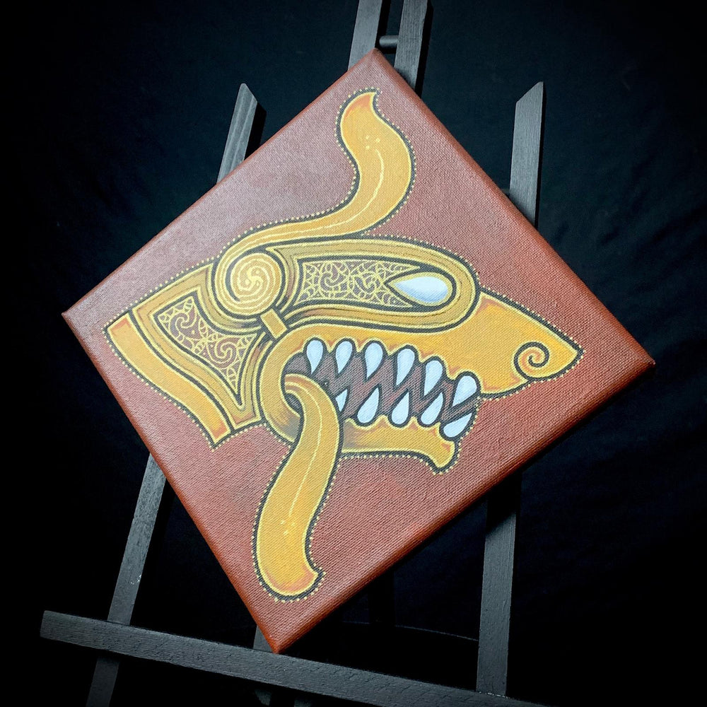Celtic Beast head painting on canvas by sacred knot tattoo