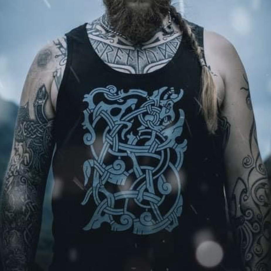 Thor and Jormungandr Vest, Viking mythology by sacred knot tattoo