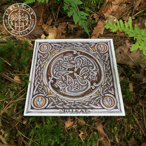 Load image into Gallery viewer, Villkat Arts gift card series, celtic art, nordic art, christmas card, alternative, boar