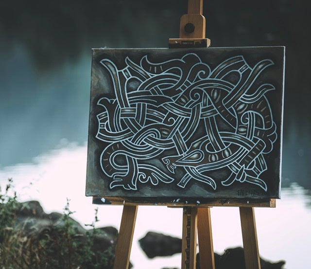 Original canvas painting by Sean parry of sacred knot tattoo, jelling style serpent, viking myths, norse mythology
