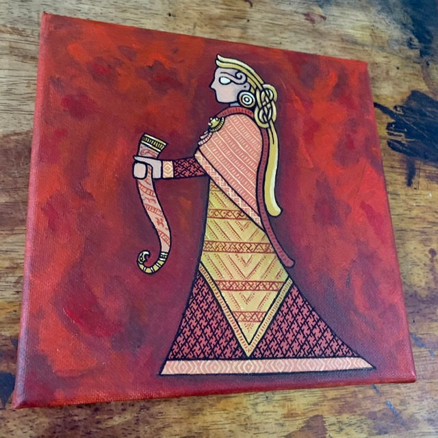 oseburg woman viking lady painting by sacred knot tattoo