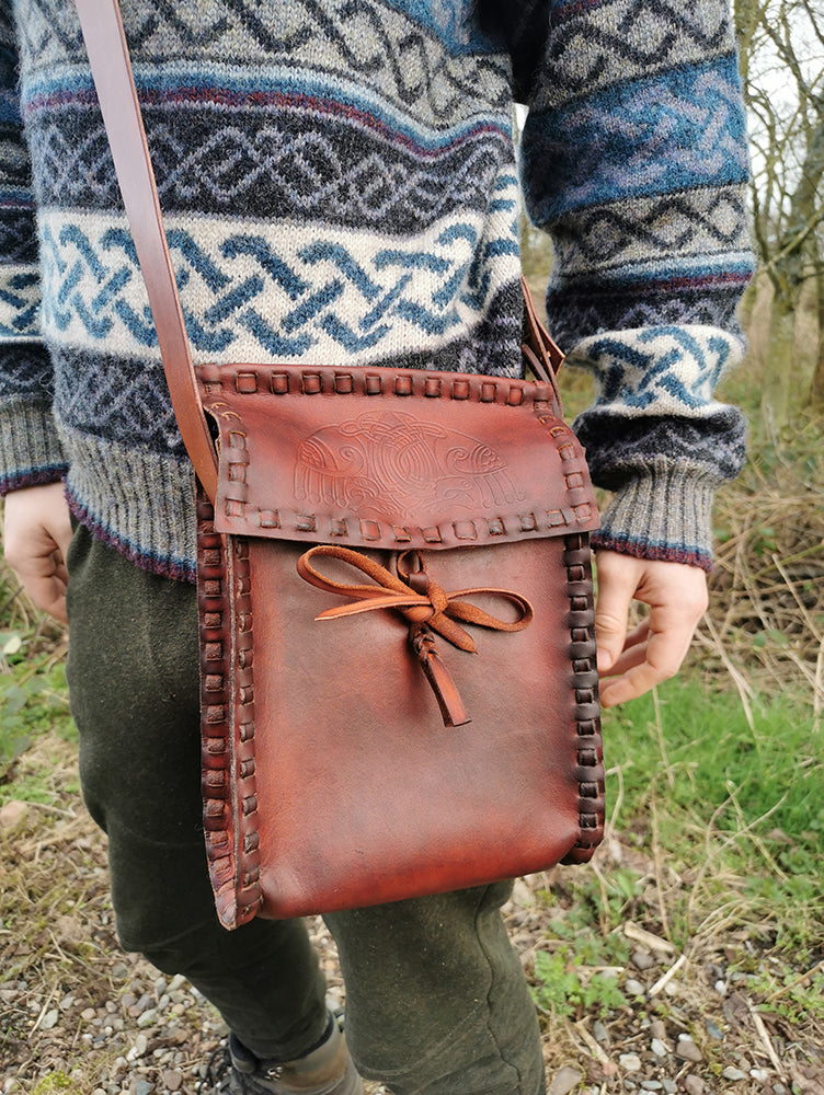 pictish crannog bag, hand pressed leatherwork by pictavia leather