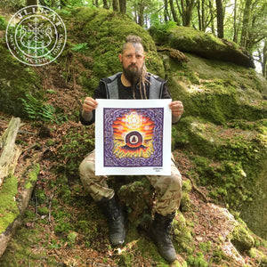 Load image into Gallery viewer, Men An Tol stone circle painting by Villkat Arts. Ancient cornwall (Kernow) image shown in psychadelic form for Northern Fire Designs. Celtic artist
