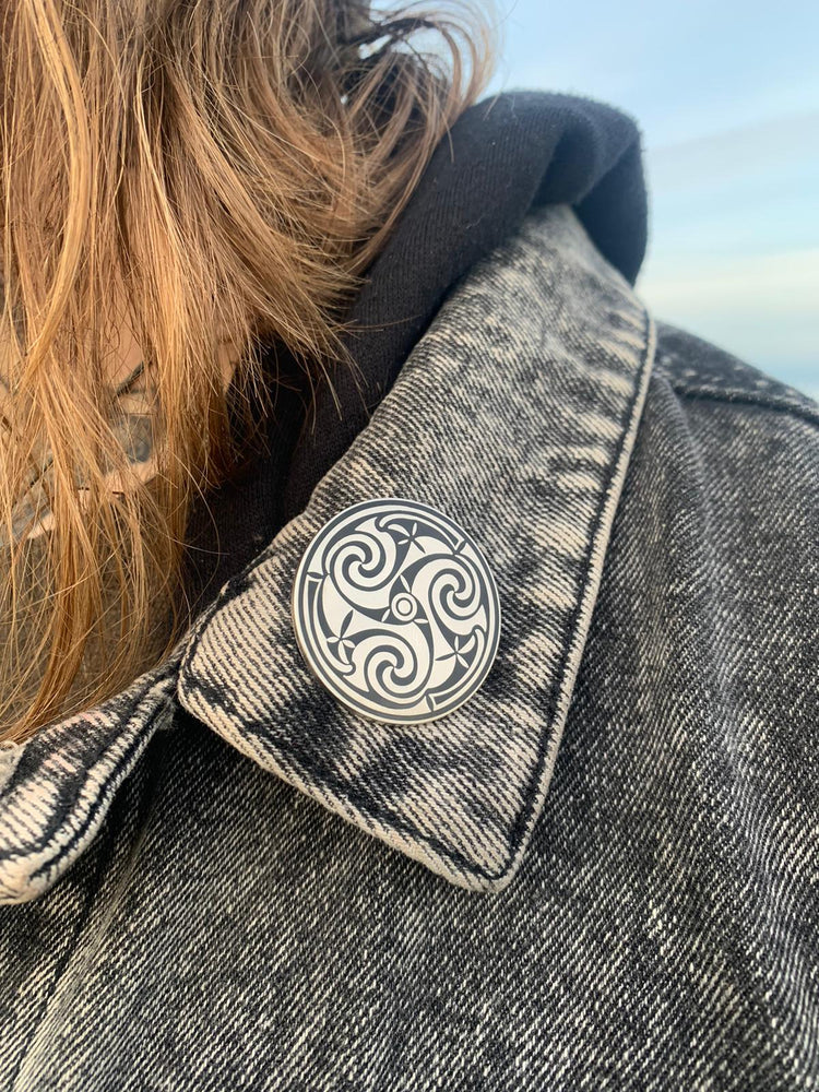 Book of durnow inspired celtic triskele pin by sacred knot tattoo