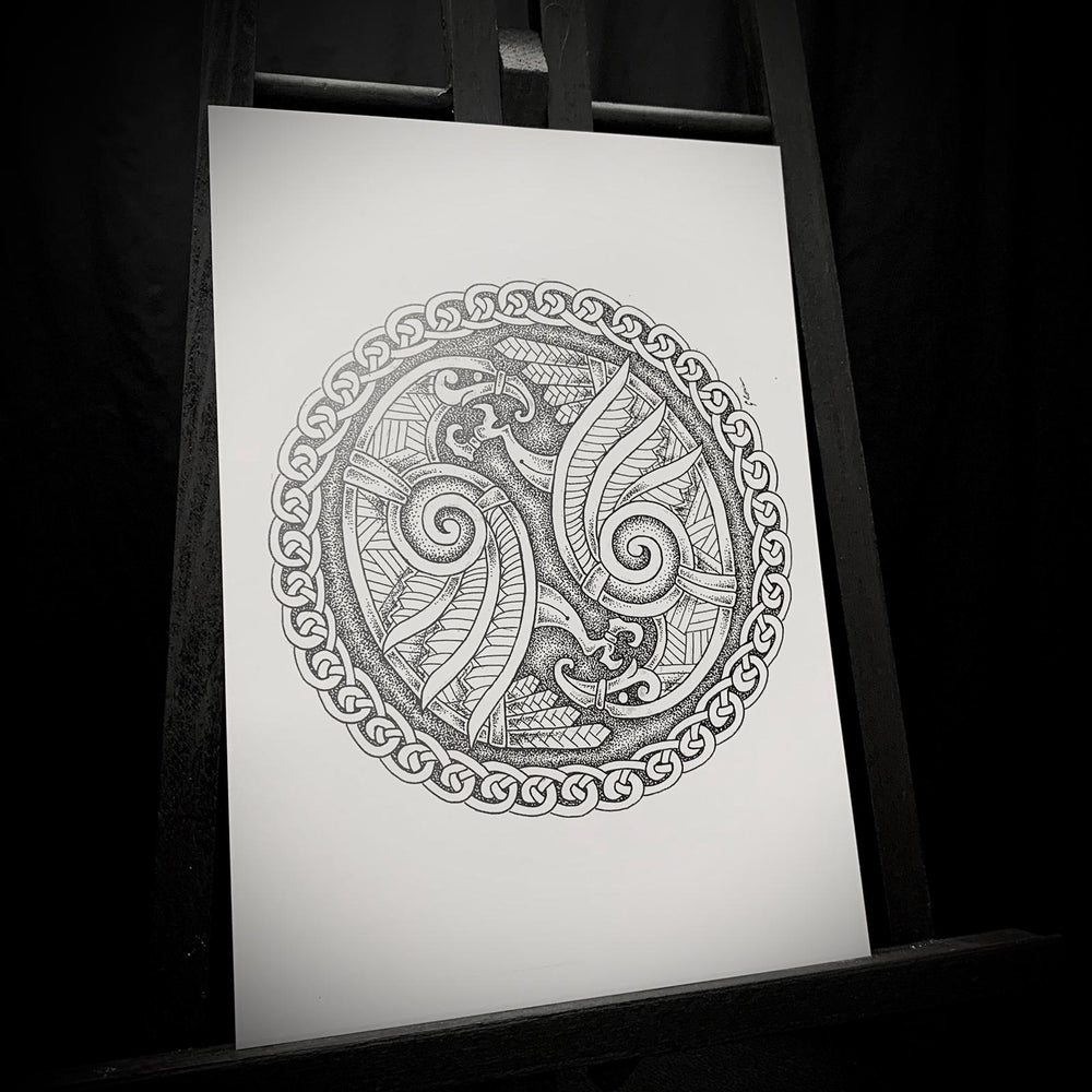 Load image into Gallery viewer, A5 Art Print by Dyrs Hjarta Art, Odins ravens, viking, nordic, Hugin, Munin, knotwork