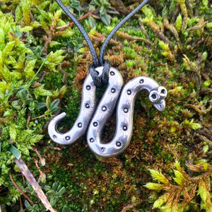 Pictish style snake pendant design, Hand cast in pewter.
