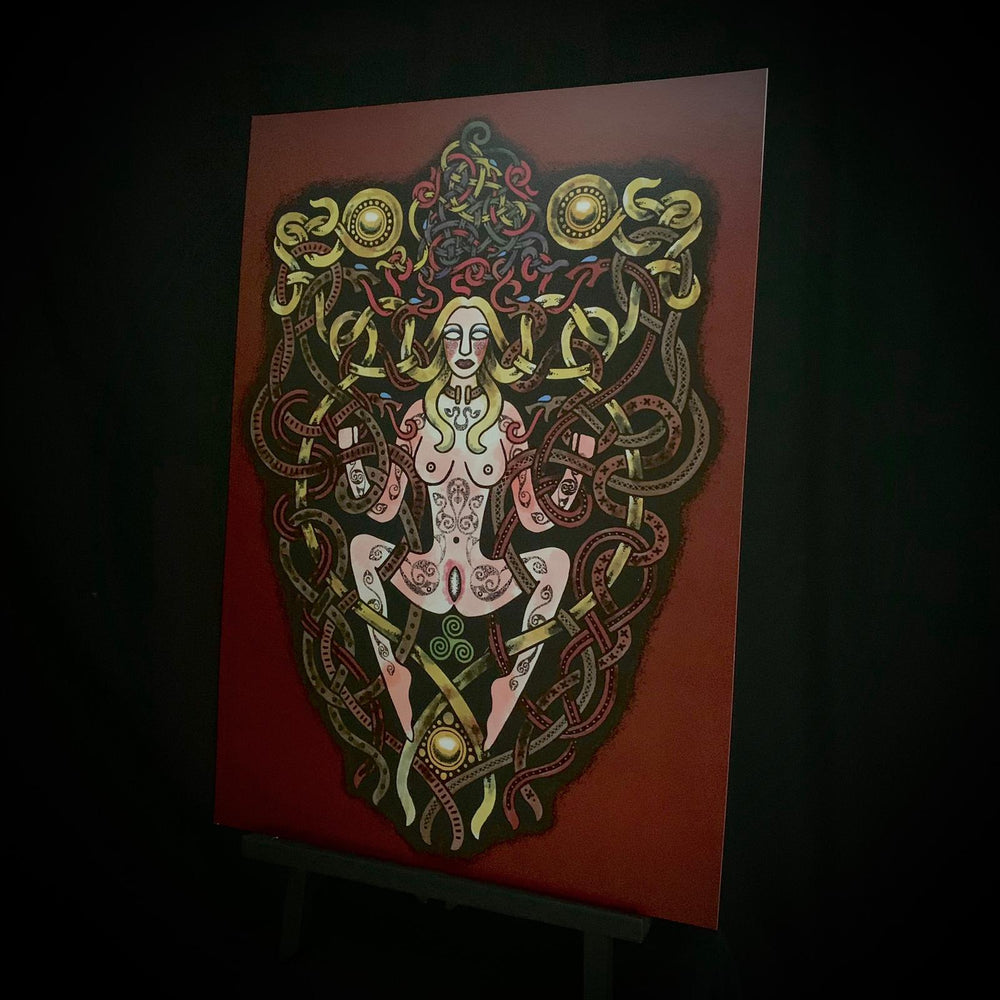 Sheela Na Gig inspired celtic artwork by Sean Parry of Sacred Knot Tattoo. Available as an A3 print