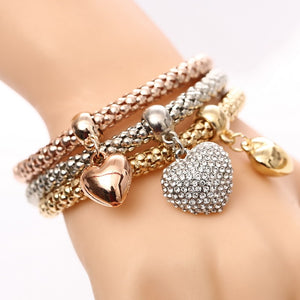 3 Pieces Crystal Heart Charm Bracelets