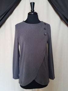 Papillon Charcoal Crossover 3 Button Top