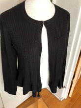 Load image into Gallery viewer, Cable Bolero Black Sweater with Ruffle Hem