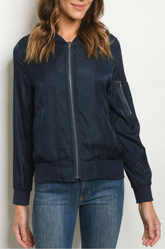 Cropped Bomber Jacket in Navy Blue