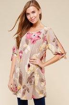 Load image into Gallery viewer, FLORAL TIE OPEN SLEEVE TUNIC PLUS by Crepas