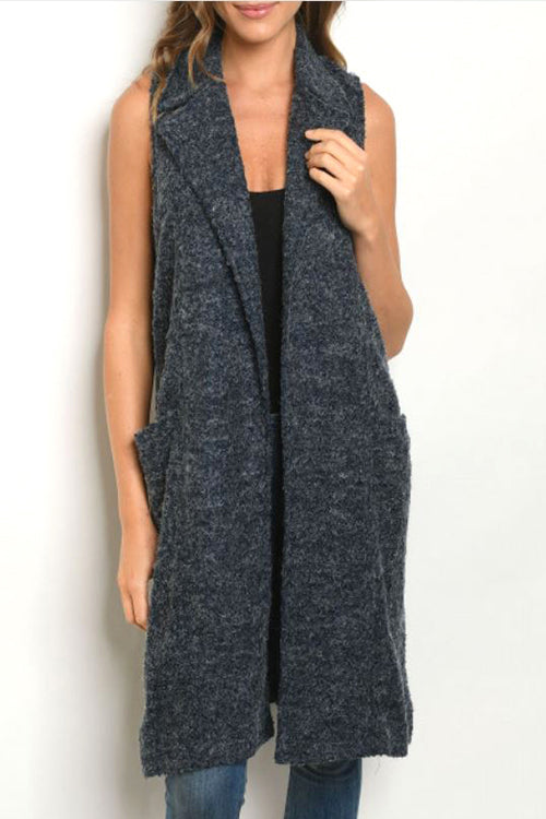 Sherpa Like Tight Knit Winter Vest with Pockets