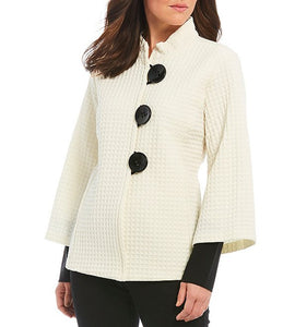 Winter White Layered Sleeve Waffle Like Large Button Top