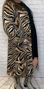 Plus Size Tiger Duster Long Sleeve and Pockets