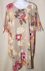 FLORAL TIE OPEN SLEEVE TUNIC PLUS by Crepas