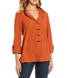 Ali Miles Texture French Cuff Button Tunic Top
