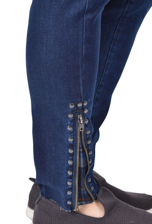 Zip Fly Denim with Plaid Detail Bottom