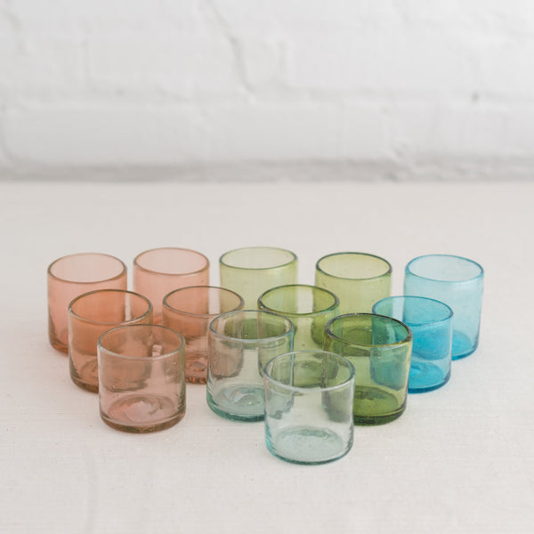 recycled glas - Mezcal glass- bitters and co glass - colored mezcal glassware - aqua mezcal glass - rose mezal glass - green mezcal glass