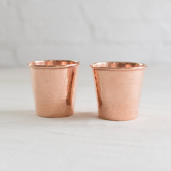 artisan copper cups - artisan copper water cups - artisan copper cocktail cups - handcrafted copper cups - hammered copper cups - copper cups made in Mexico - Sertado copper cups