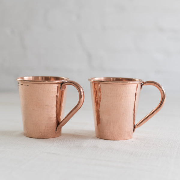 moscow mule mugs - moscow mule cups - moscow mule copper cups - hammered copper moscow Mule mugs - Sertado copper - made in Mexico