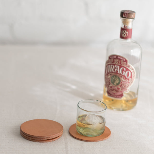Todder coasters - leather coasters - american made leather coasters - top grain leather coasters -