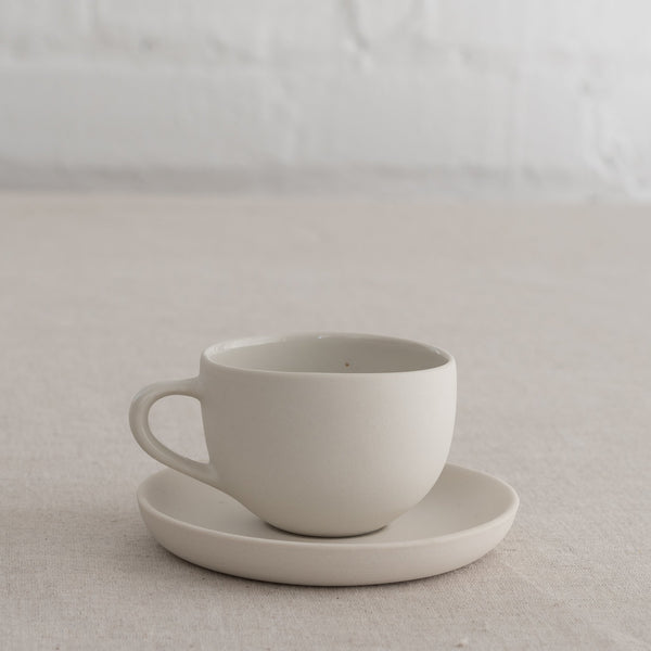 white mud coffee cup and saucer - coffee cup- porcelain mug- porcelain saucer
