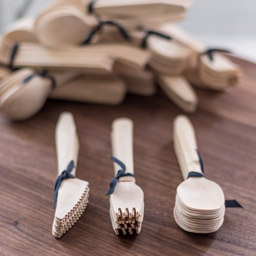 bamboo cutlery - bamboo knife - bamboo spoon - bamboo fork - disposable - compostable cutlery  - al fresco