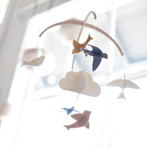 wool - felt - baby mobile - mobile - nursery decor - bird mobile