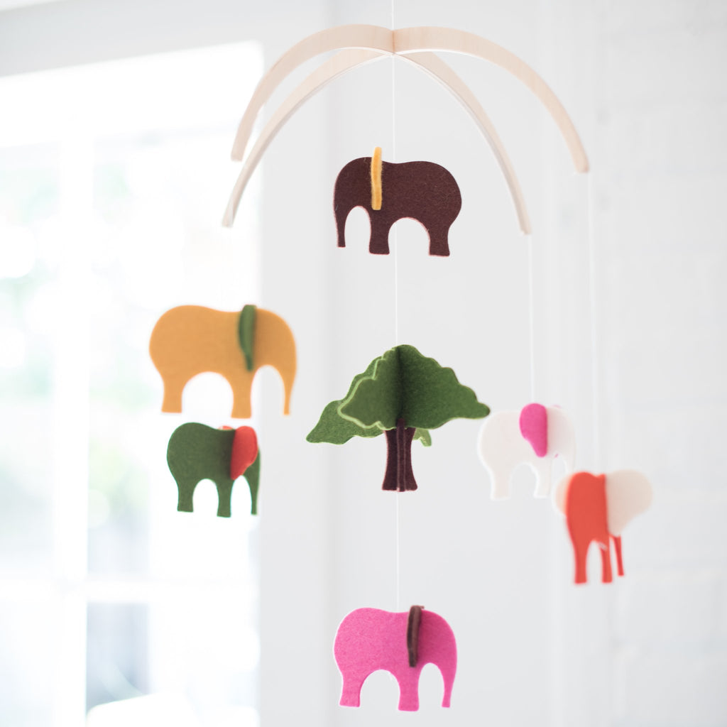 baby mobile - felt - wool - elephant mobile