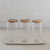 acacia wood top glass jars - glass storage jars with wood top- behome glass containers - glass storage jars
