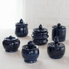 blue ceramic jam jar